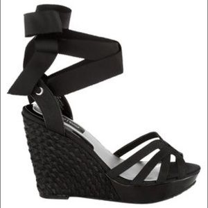 WHBM Jenica Black Ankle Wrap Strappy Wedge Sandals